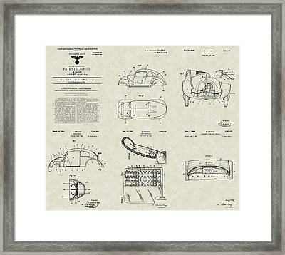 Volkswagen Patent Collection Framed Print by PatentsAsArt