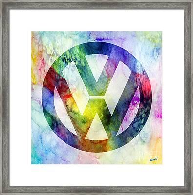 Volkswagon Logo Framed Print by Jon Neidert