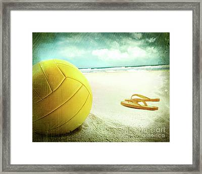 Volleyball In The Sand With Sandals Framed Print by Sandra Cunningham