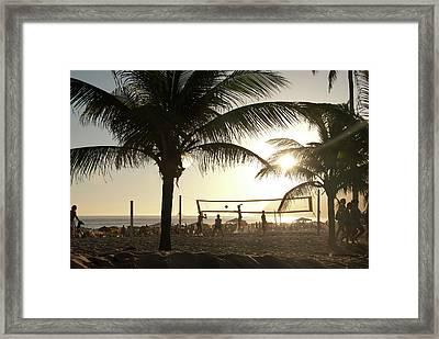 Volleyball, Ipanema Beach, Rio De Framed Print