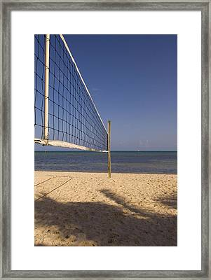 Vollyball Net On The Beach Framed Print