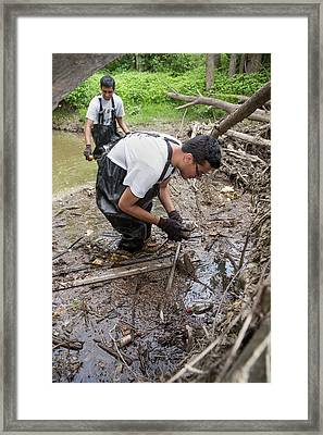 Voluntary River Cleaning Work Framed Print