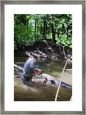 Volunteer Clearing Log Jam Framed Print