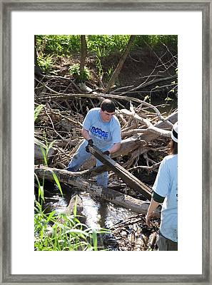 Volunteers Clearing Logs Framed Print
