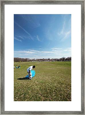 Volunteers Clearing Park Litter Framed Print