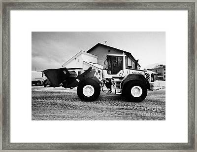 volvo wheel loader carrying grit and stones for icy road use Honningsvag finnmark norway europe  Framed Print by Joe Fox