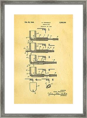 Vonnegut Tobacco Pipe Patent Art 1946 Framed Print by Ian Monk