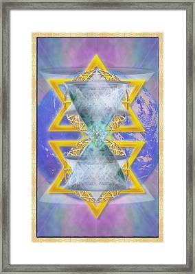 Vortex Chalice Spheres And Star Over Earth Framed Print