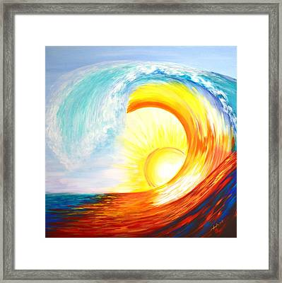 Framed Print featuring the painting Vortex Wave by Agata Lindquist