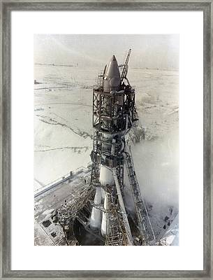 Voskhod-2 Rocket On Launchpad Framed Print by Science Photo Library