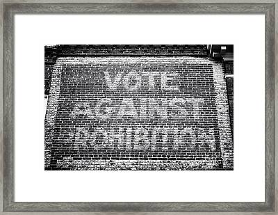 Vote Against Prohibition I Framed Print by John Rizzuto