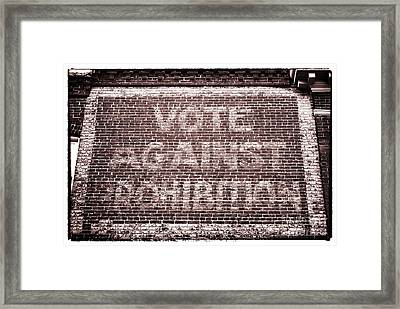 Vote Against Prohibition II Framed Print by John Rizzuto