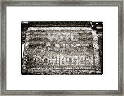 Vote Against Prohibition IIi Framed Print by John Rizzuto