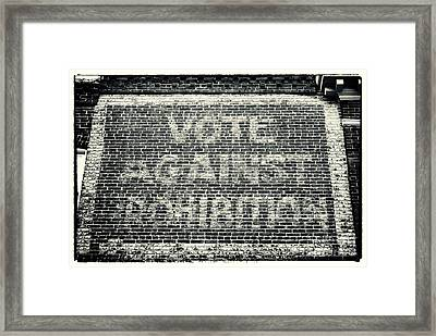 Vote Against Prohibition Iv Framed Print by John Rizzuto