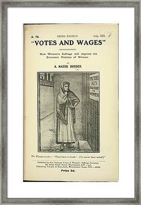 Votes And Wages Framed Print by British Library