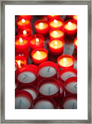 Votive Candles In A Cathedral, Como Framed Print