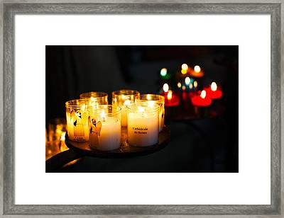 Votive Candles In A Cathedral, Reims Framed Print