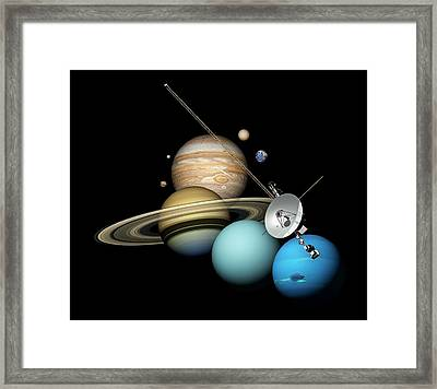 Voyager 2 And Planets Framed Print by Carlos Clarivan
