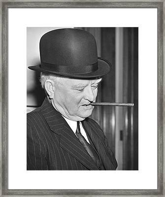 Vp Garner Tries A Derby Hat Framed Print by Underwood Archives