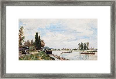 Vue De Meudon Du Pont De Sevres Framed Print by Johan-Barthold Jongkind