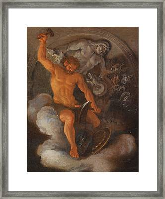 Vulcan At His Forge Behind Him A Bas-relief Of Hercules Fighting The Hydra Framed Print