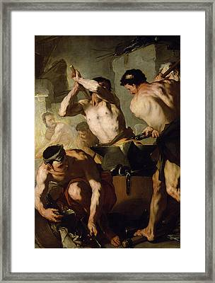 Vulcans Forge Framed Print by Luca Giordano