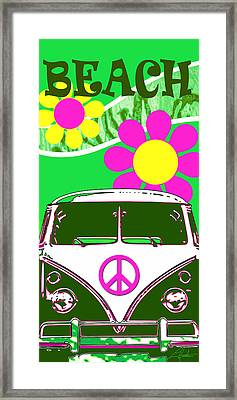 Vw Beach  Green Framed Print