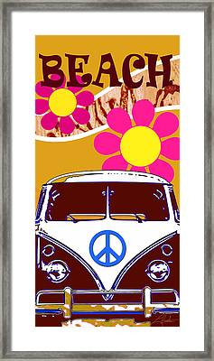 Vw Beach  Tan Framed Print