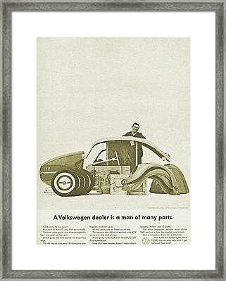 Vw Beetle Advert 1962 - A Volkswagen Dealer Is A Man Of Many Parts Framed Print by Georgia Fowler