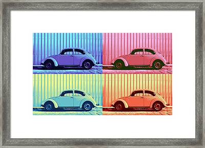 Vw Beetle Pop Art Quad Framed Print by Laura Fasulo