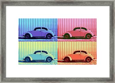 Vw Beetle Pop Art Quad Framed Print