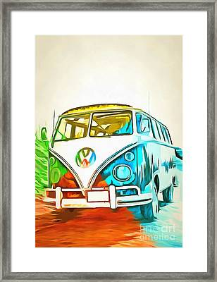 Vw Bus Pop Art 5 Framed Print by Edward Fielding