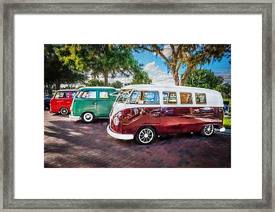 Vw Bus Stop 1964 1961 1968 Vans Trucks Painted Framed Print by Rich Franco