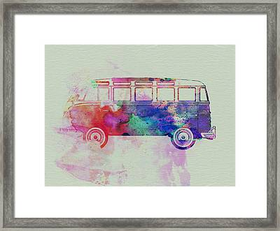 Vw Bus Watercolor Framed Print by Naxart Studio