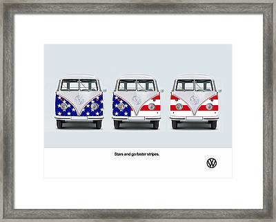 Vw Go Faster Stripes Framed Print by Mark Rogan