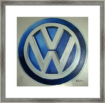 Vw Logo Blue Framed Print