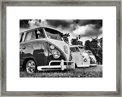 Vw Splitties Monochrome Framed Print