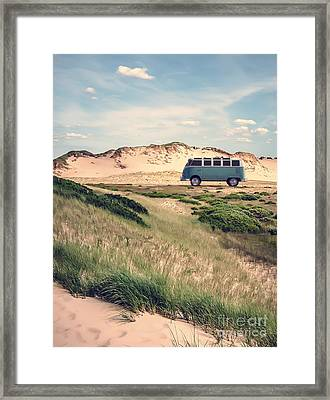 Vw Surfer Bus Out In The Sand Dunes Framed Print by Edward Fielding