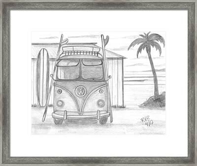Vw Surfing Bus Framed Print