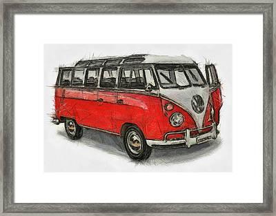 Framed Print featuring the painting Vw Van - Red Art Print by Georgi Dimitrov