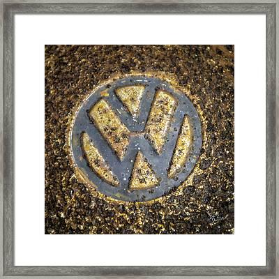 Vw - Volkswagon Hubcap Framed Print by Betty Denise