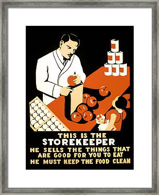 W P A  Food Hygiene Poster C. 1937 Framed Print by Daniel Hagerman