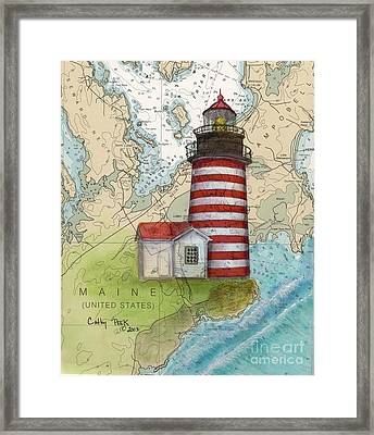 W Quoddy Lighthouse Me Nautical Chart Map Art Cathy Peek Framed Print by Cathy Peek