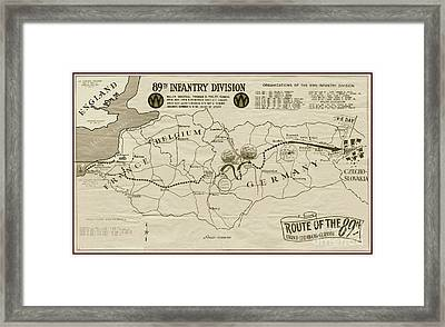 W W I I 89th Division Map Framed Print