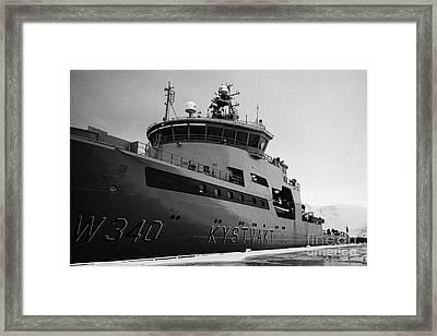 w340 kv barents sea norwegian coast guard kystvakt vessel Honningsvag finnmark  Framed Print by Joe Fox