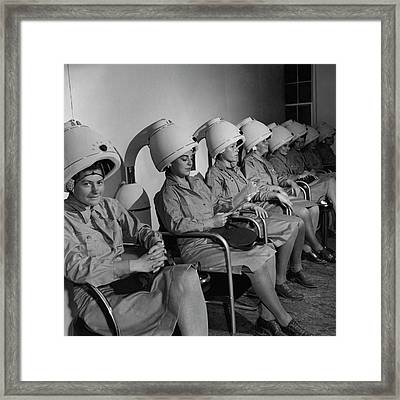 Waac Officers At A Beauty Parlor Framed Print