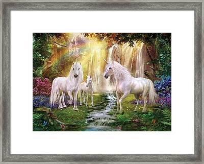 Waaterfall Glade Unicorns Framed Print by Jan Patrik Krasny