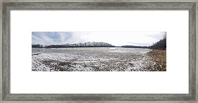 Framed Print featuring the photograph Wabash River Ice Jam Panorama by Tony Mathews