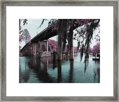 Waccamaw River Bridge In April Infrared Framed Print by MM Anderson