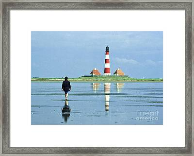 Wadden Sea With Westerhever Lighthouse Framed Print